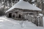 Old Blockhouse In Winter In Forest