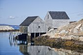 Lobster traps and fishing sheds in the small fishing village and tourism destination of Peggy's Cove