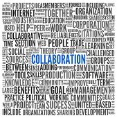 Collaboration concept in word tag cloud isolated on white background