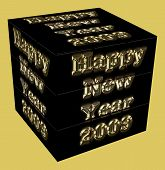 2009 Cube On Gold Background
