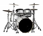 image of drum-kit  - a white drum kit in white back - JPG