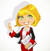 Cute business woman with documents showing business card