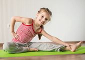 image of physical education  - smiling  girl with the fitness ball   at home - JPG