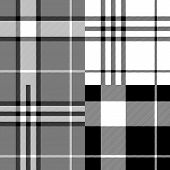 Black and white tartan traditional fabric seamless pattern, vector