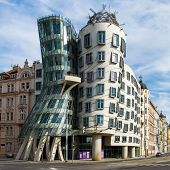 PRAGUE - JUNE 30: Modern building, also known as the Dancing House, designed by Vlado Milunic and Frank O. Gehry stands on June 30, 2013 in Prague, Czech Republic