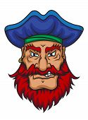pic of pirate hat  - Old pirate captain in cartoon mascot style isolated on white background - JPG
