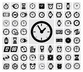 image of clocks  - vector black clocks icon set on gray - JPG