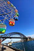 Ferris Wheel And Sydney Harbour Bridge, Australia