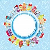 Abstract Round Banner With Small Fairy Town On Light Blue Sky Background With Decorative Colorful Ho