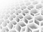 Abstract White Honeycomb Structure. 3D Illustration, Background Texture