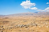picture of megaliths  - view of stone plateau with Zorats Karer  - JPG