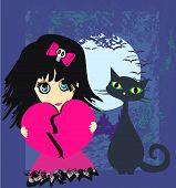 image of emo  - Sad emo girl and her cat  - JPG