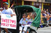 Sweethearts growing old together in pedicab