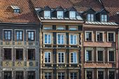 pic of tenement  - Tenements facades on Old Town Square historic district in Warsaw Poland