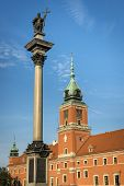 Royal Castle On Castle Square With King Sigismund Iii Vasa Column In Warsaw