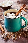 image of cinnamon sticks  - Hot chocolate with  marshmallows and cinnamon stick - JPG