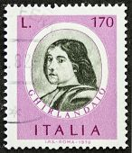 ITALY - CIRCA 1976: a stamp printed in Italy shows image of  Domenico Ghirlandaio (1449 �?�¢?? 1494) Italian renaissance painter in Florence. Italy, circa 1976