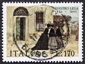 ITALY CIRCA 1976: a stamp printed in Italy celebrates Silvestro Lega (1826 - 1895), Italian realistic painter of the Macchiaioli school, showing his painting La Visita (The Visit). Italy, circa 1976