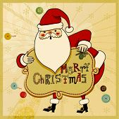 Christmas Greeting - Hand drawn illustration of cute Santa Clause wishing you a Merry Christmas, aga