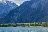 Koningsee lake and St. Bartholomew's Church in Bavarian Alps, Berchtesgaden, Bavaria, Germany