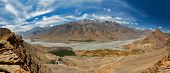 Aerial panorama of Spiti valley and Key gompa in Himalayas. Spiti valley, Himachal Pradesh, India