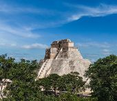 Anicent mayan pyramid (Pyramid of the Magician, Adivino) in Uxmal, M�?�?�?�©rida, Yucat�?�?�