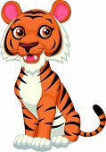 picture of white tiger cub  - Vector illustration of Cute tiger cartoon isolated on white background - JPG