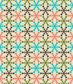 Retro color snowflake seamless vector pattern.