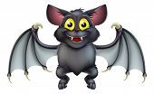picture of vampire bat  - An illustration of a cute happy cartoon Halloween bat character - JPG