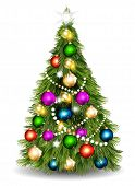 Christmas Vector  Tree Against White Background