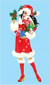 Brunette Christmas Girl Wearing Santa Claus Suit And Carrying Christmas Presents And Gifts