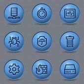 Internet security web icons, circle blue buttons