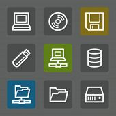 Drives and storage web icons, flat buttons