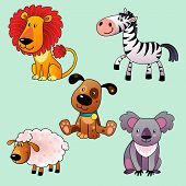 Set Of Cartoon Animals.