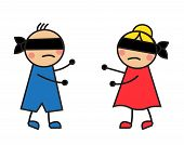 children blindfolded seek each other