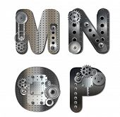 Vector mechanical alphabet of gears. Letter. eps 10 file with transparencies.