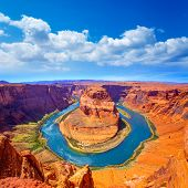 stock photo of plateau  - Arizona Horseshoe Bend meander of Colorado River in Glen Canyon - JPG