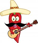 stock photo of cayenne pepper  - Red Chili Pepper Cartoon Character With Mexican Hat And Mustache Playing A Guitar - JPG