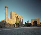 Registan square with oriental buildings. Samarkand, Uzbekistan