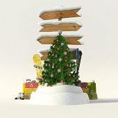 3D rendering of a Christmas tree, a snow covered directional sign with skis and snowboard
