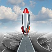 pic of higher power  - Business take off concept with a rocket ship on a straight road over a sky background of tangled streets as a freedom metaphor for escaping and taking an opportunity for higher financial success - JPG