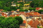 Red rooftops of medieval houses in Sarlat, Dordogne region, France.