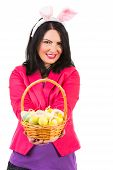 Happy Woman Showing Easter Basket With Eggs