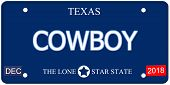 picture of texas star  - A fake imitation Texas License Plate with the word COWBOY and The Lone Star State making a great concept - JPG