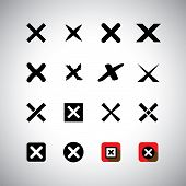 Vector Icons Set - Cross Marks, Wrong Choice Or Selection