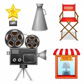 Cinema entertainment decorative icons