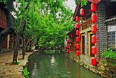 Street And Canal In Lijiang, China, Oil Paint Stylization