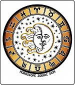 All Zodiac Sign In Horoscope Circle.retro Illustration