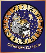 Capricorn Zodiac Sign.horoscope Circle.retro