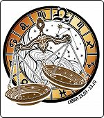 Libra Zodiac Sign.horoscope Circle.vector Illustration